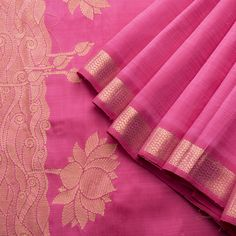 Handwoven Kanjivaram Silk Sari in Pink and Gold Colour Zari