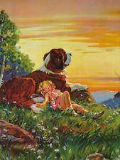 Saint Bernard pillow Me when I'm recouping from low b. Children's Book Illustration, Illustrations, Big Dogs, Cute Dogs, St Bernard Dogs, San Bernardo, Girl Sleeping, Baby Clip Art, Vintage Dog