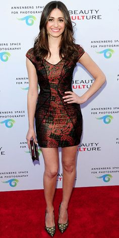 Emmy Rossum arrived for the opening night of Beauty Culture in a Monique Lhuillier minidress; she added a Jimmy Choo crocodile clutch and the labels pointy-toe heels.