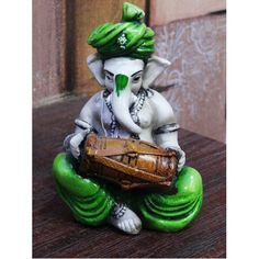 Fiber Handicrafts : Fiber Ganesha Playing Dholak - Green