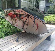 Painting Umbrella Flower Black Hole Waterproof Rainproof Classic Umbrella