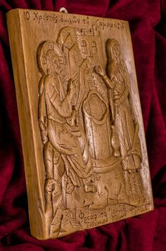 Jesus and the Samaritan woman at the well aromatic wall icon made with pure beeswax, mastic and incense from Mount Athos. Unique Christian gift, free s&h Gospel Of John, Church Interior, Orthodox Icons, Christian Gifts, Wall Plaques, Jesus Christ, Hand Carved, Carving, Saint John