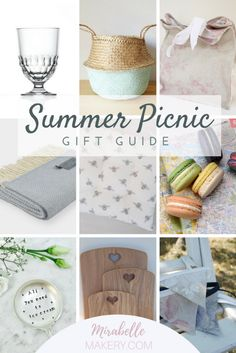 Picnic gifts and home accessories for the summer from independent makers with a sprinkle of French style. Pin now to read later ~ Mirabelle Makery #shabbychic #frenchdecor #shopsmall #handmade #picnicgifts