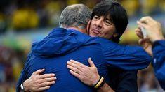 Head coaches Luiz Felipe Scolari of Brazil and Joachim Loew of Germany hug prior to the 2014 FIFA World Cup Brazil Semi Final