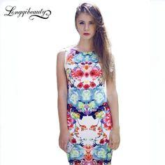 Aliexpress.com : Buy Women New Style Vintage Dress Elegant Sleeveless Floral Print Dress Tank Pencil Sheath Mini Bodycon Dresses Longqibeauty from Reliable dress kawaii suppliers on LongqiBeauty    Alibaba Group