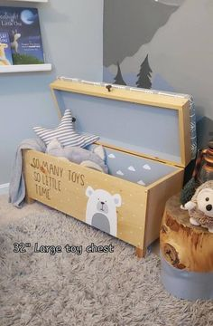 This is the magical and whimsical toy storage that you've been looking for! It's a perfect statement addition for your nursery, childs room or play area Outdoor Toy Storage, Dog Toy Storage, Toy Storage Boxes, Lego Storage, Storage Chest, Large Toy Chest, Kids Toy Chest, Personalised Wooden Toy Box, Wooden Toy Boxes