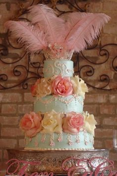 Wedding idea: Pretty Marie Antoinette wedding or bridal shower cake.