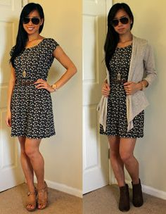 Summer to early fall outfit: just add a lightweight cardigan and switch up the shoes to brown ankle booties.