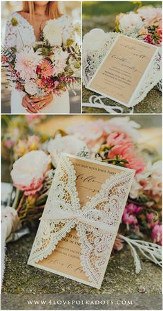 Handmade Ivory & Eco brown laser cut lace wedding invitations are for sure a great idea to impress your guests. Romantic and elegant way to invite family and friends for your Special Day #wedding