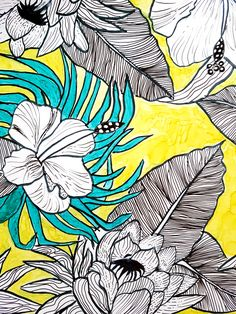 Want to draw more tropical florals? It's much easier than it looks? So grab a pen and let's draw together! Line drawing is an art form with focus on contours. Tropical Leaves, Tropical Flowers, Flower Drawing Tutorials, Doodle Designs, Zen Doodle, Line Drawing, Art Forms, Doodles, My Arts