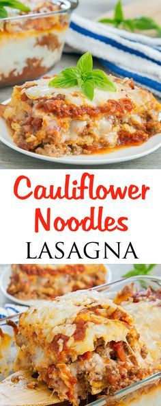 Cauliflower Noodles Lasagna. This low carb and gluten free lasagna is made with…