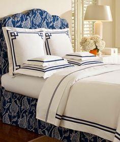 Navy and white bedding & duvet by Somerset. Navy Bedrooms, Blue Bedroom, Master Bedroom, Bedroom Decor, Casa Feng Shui, Monogram Bedding, Bed Cover Design, White Bedding, White Decor