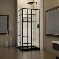 Dreamline French Corner French Black Walls Not Included Acrylic Floor Square 2-Piece Corner Shower Kit (Actual: 74.75-In