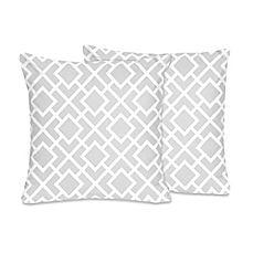 image of Sweet Jojo Designs Diamond Throw Pillow in Grey/White (Set of 2)
