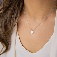 Silver circle necklace, simple silver necklace, delicate, dainty, tiny sterling silver, personalized disc pendant, layering (Disc 9 mm)