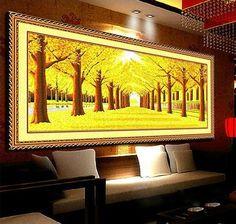 絲線印花十字繡黃金滿地十字繡2.5米3米大幅十字繡新款客廳