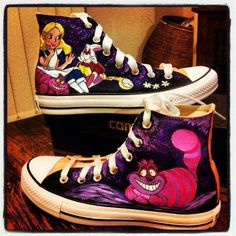 32447e7c3141 These all star converse are inspired by the Disney cartoon version of Alice  in wonderland. the have characters and scenes form the animated picture  printed ...