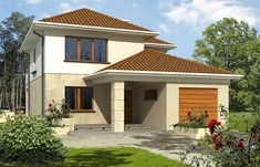 Projekt domu piętrowego Leda o pow. 157,8 m2 z garażem 1-st., z dachem kopertowym, z tarasem, z wykuszem, sprawdź! Home Fashion, House Plans, Garage Doors, Shed, Outdoor Structures, House Styles, Outdoor Decor, Home Decor, Small Houses
