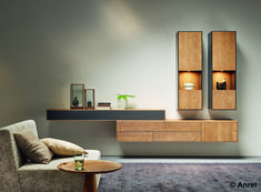 Individually designed – living room combination from the puro model in mountain spruce from … - TV Unit Ideas Living Room Cabinets, Living Room Shelves, Home Living Room, Living Room Furniture, Living Room Decor, Living Room Tv Unit Designs, Interior Design Living Room, My Home Design, Contemporary Interior