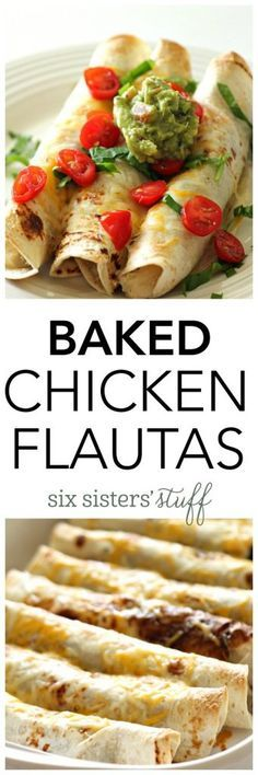 Baked Chicken Flautas from SixSistersStuff.com