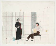 David Hockney 'Study for 'Mr and Mrs Clark and Percy'', 1970 © David Hockney David Hockney Tate, Jonas Wood, James Rosenquist, Pop Art Movement, Jasper Johns, Celia Birtwell, Claes Oldenburg, Life Drawing, Drawing Artist