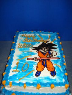 Dragonball Z birthday cake buttercream icing freehand decorated I