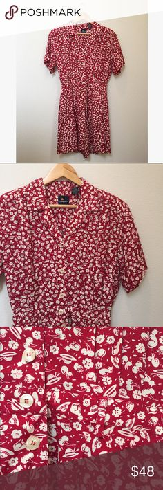 """Vintage Floral Cherry Print 90's Button Romper Vintage 90's button down romper with flower, cherry, animal, and hat print by Liz Claiborne. Elastic waist with removable shoulder pads. Perfect vintage condition. Tag reads 6 petite, fits like a modern size small.   Approximately 35"""" long, 19"""" pit to pit, 26"""" waist un-stretched, 7"""" inseam.   No trades, offers welcome! Vintage Pants Jumpsuits & Rompers"""