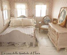 OOAK Romantic chic French Essence double bed - 1/12 dolls house dollhouse miniature Miniature bedroom #miniaturebedroom