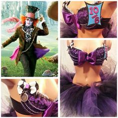 Mad Hatter Rave Bra and Bottoms, Rave Outfit, Outfit for EDC Edm Outfits, Rave Costumes, Halloween Costumes, Fairy Costumes, Rave Festival, Festival Outfits, Swagg, Disney, Rave Bras