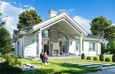 Projekt domu Willa parkowa B 145,29 m2 - koszt budowy - EXTRADOM House Outside Design, House Design, One Storey House, Prefabricated Houses, Decks And Porches, Sunroom, Home Projects, House Plans, Villa