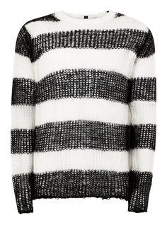 Black and White Stripe Knitted Sweater - TOPMAN USA Black White Stripes cb6c4d7d1