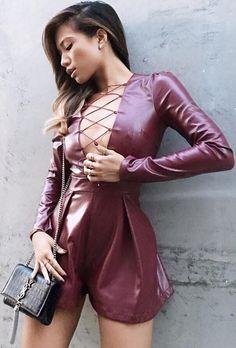 Singer Jessi Malay. Wearing the Ashanti Brazil Gisele Leather Romper.