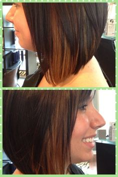 Peek-a-boo highlights: Carmel highlights, dark brown hair. Love!!