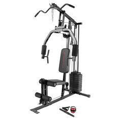 This Marcy 100 lb. Stack Home Gym is the perfect addition to your home. It allows you to strengthen and tone your entire body for a full exercise regimen and multiple circuit options. Marcy Single Stack Home Gym Marcy Home Gym, At Home Gym, Home Gym Equipment, No Equipment Workout, Fitness Equipment, Nutrition Education, You Fitness, Fitness Goals, Cardio Fitness