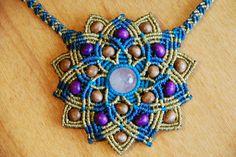 ** Gold And Purple Micro Macrame Mandala Pendant Jewelry Collar Macrame, Macrame Colar, Macrame Art, Macrame Projects, Macrame Necklace, Macrame Knots, Macrame Bracelets, Loom Bracelets, Micro Macrame Tutorial