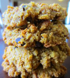 Pumpkin Cookies:  (Makes 10-12 large cookies)  1/4 c. canned pure pumpkin,  1/2 c. almond butter,  1/2 c. honey,  1 t. vanilla,    1 c. almond meal/flour,  1 t. pumpkin pie spice or 1tsp ground cinnamon,   1/4 t. baking soda,   1/2 c. dark chocolate chips or any dried fruit would be wonderful, and  1/2 c. walnuts, or pecans, or whatever you'd like.