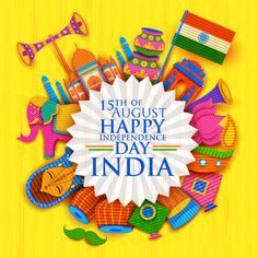 Happy Independence Day banner in Indian kitsch paper style