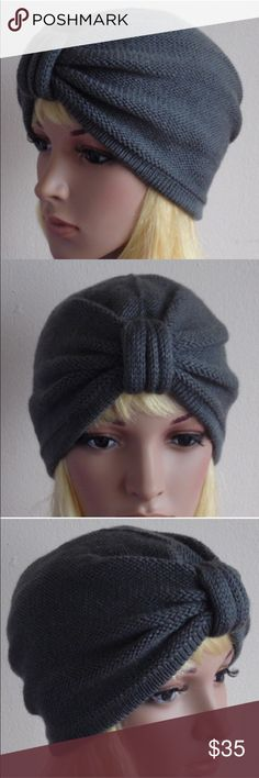 NWT: Handmade Gray Turban Beanie Awesome handmade beanie in a very fashionable turban style. Love the versatile gray color perfect for fall. Stretchy but generally fits 21-22.5in circumference. Brand new without tags, handmade! Enjoy! Accessories Hats