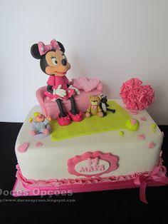 Doces Opções: Bolo com a Minnie para o aniversário da Mara Cake, Disney, Desserts, Food, Decorating Cakes, Sweets, Tailgate Desserts, Deserts, Kuchen
