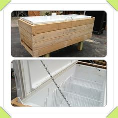Party sized cooler made for free. Old non working fridge door. Covered with slats from pallets. Chain attached to interior cabinet and door to keep door from going past Hole to outside from where coil Patio Cushion Storage, Patio Cushions, Pallet Projects, Home Projects, Patio Cooler, Chest Freezer, Diy Crafts For Gifts, Diy On A Budget, Wood Pallets