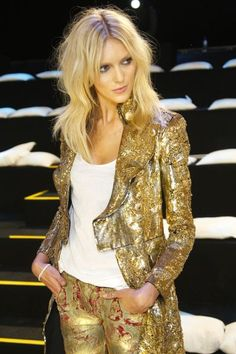 Balmain skinny gold leather moto jeans and tux