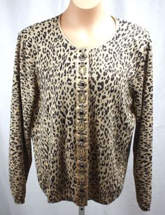 Chicos-Womens-Sparkly-Beaded-Animal-Print-Snap-Front-Cardigan-Chicos-Size-2