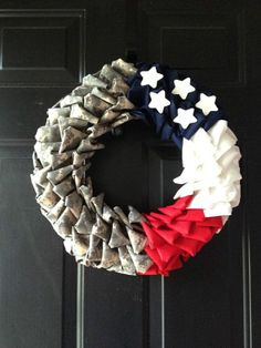 Army ACU wreath Handmade by HangEverythingUp on Etsy, $35.00-- (I like the bunching on this one)