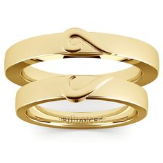 Matching Curled Heart Wedding Ring Set in Yellow Gold https://www.brilliance.com/wedding-rings/matching-curled-heart-wedding-ring-set-yellow-gold