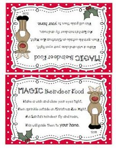 Reindeer Food - Adorable printables to attach to a bag of oatmeal and glitter to sprinkle in the yard on Christmas Eve.
