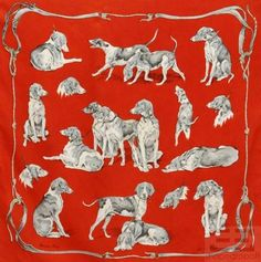 "Hermes Vintage Red Silk Twill Xavier de Poret ""Chiens de Meute"" 90cm Scarf on auction now at www.shopedropoff.com....eBay # 310508423019"