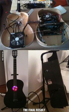 This is awesome. Now he needs to build a flatscreen monitor into an old amp