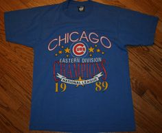 Vintage Screen Stars Chicago Cubs 1989 Eastern Division Champions T-Shirt Mens L #ScreenStars #GraphicTee