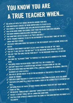 You Know You're a Teacher When . . .