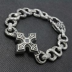 Стильный Браслет с Греческим крестом, выполнен из ювелирной стали, настоящая авторская работа